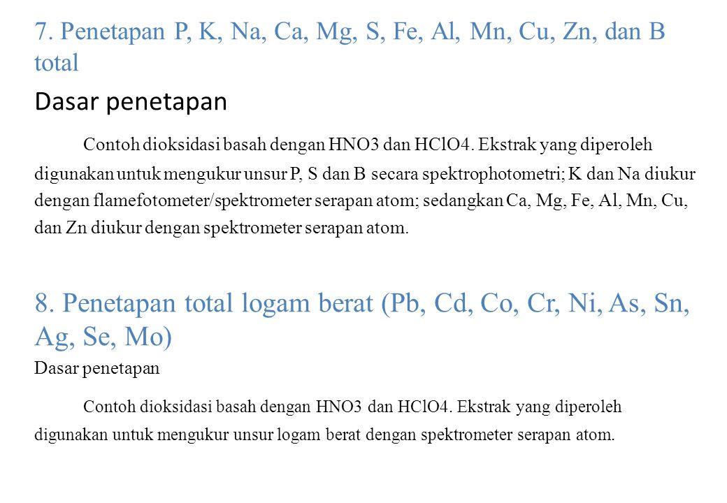 7. Penetapan P, K, Na, Ca, Mg, S, Fe, Al, Mn, Cu, Zn, dan B total Dasar penetapan Contoh dioksidasi basah dengan HNO3 dan HClO4. Ekstrak yang diperole