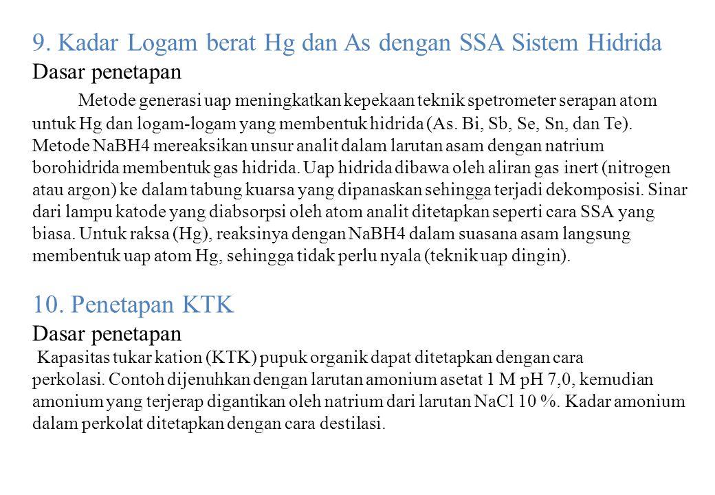9. Kadar Logam berat Hg dan As dengan SSA Sistem Hidrida Dasar penetapan Metode generasi uap meningkatkan kepekaan teknik spetrometer serapan atom unt