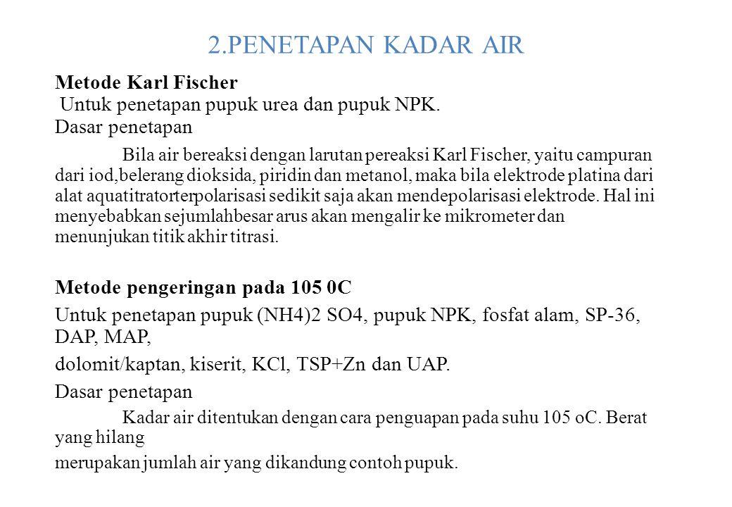 2.PENETAPAN KADAR AIR Metode Karl Fischer Untuk penetapan pupuk urea dan pupuk NPK. Dasar penetapan Bila air bereaksi dengan larutan pereaksi Karl Fis