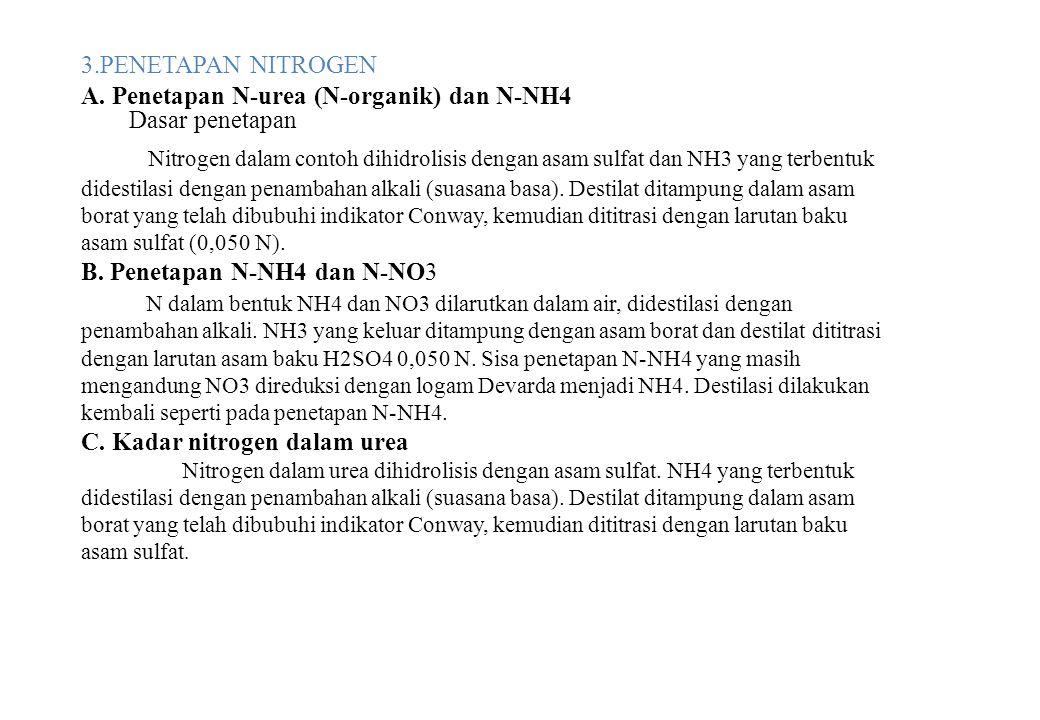 3.PENETAPAN NITROGEN A. Penetapan N-urea (N-organik) dan N-NH4 Dasar penetapan Nitrogen dalam contoh dihidrolisis dengan asam sulfat dan NH3 yang terb