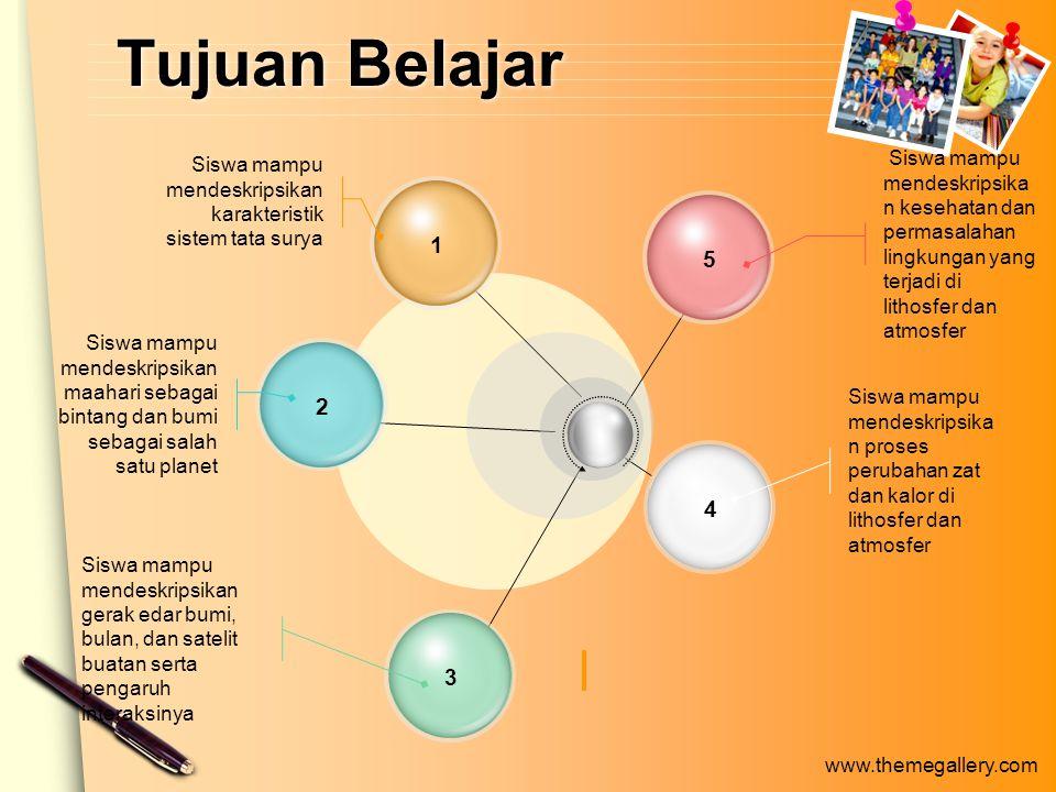 www.themegallery.com Peredaran Bulan dan Bumi Bulan merupakan satelit bumi, oleh karena itu bulan beredar mengelilingi bumi.