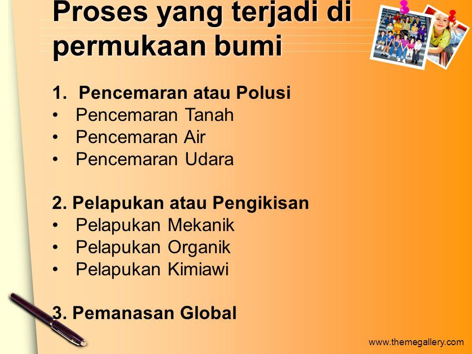 Proses yang terjadi di permukaan bumi 1.Pencemaran atau Polusi Pencemaran Tanah Pencemaran Air Pencemaran Udara 2.