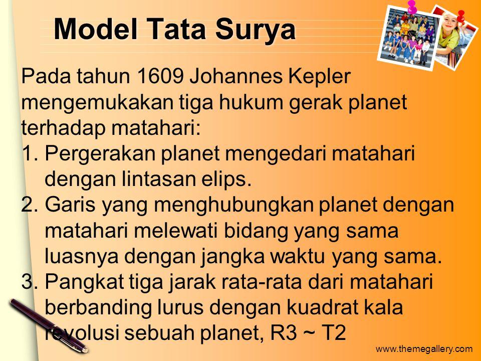 www.themegallery.com Model Tata Surya Pada tahun 1609 Johannes Kepler mengemukakan tiga hukum gerak planet terhadap matahari: 1.