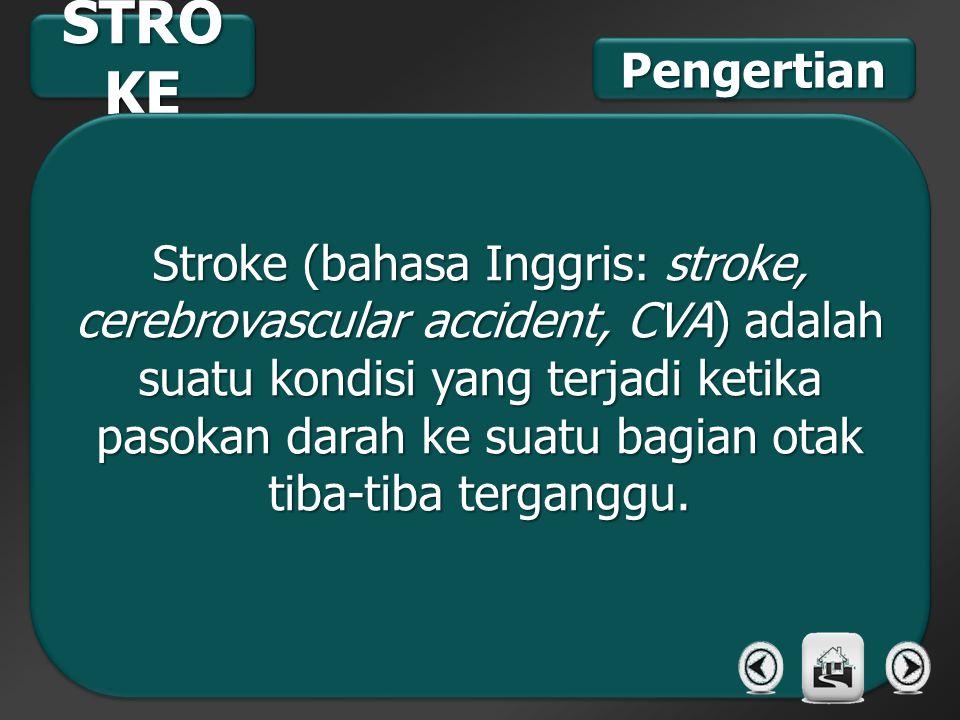 STRO KE Stroke (bahasa Inggris: stroke, cerebrovascular accident, CVA) adalah suatu kondisi yang terjadi ketika pasokan darah ke suatu bagian otak tib