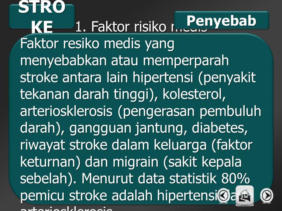 STRO KE 1. Faktor risiko medis Faktor resiko medis yang menyebabkan atau memperparah stroke antara lain hipertensi (penyakit tekanan darah tinggi), ko