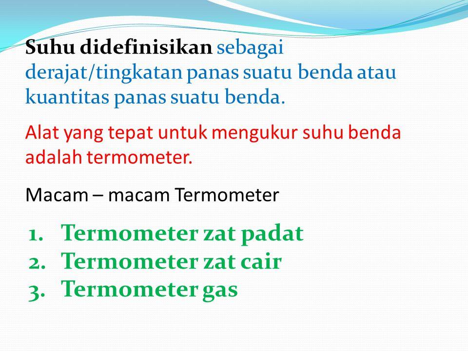 Suhu didefinisikan sebagai derajat/tingkatan panas suatu benda atau kuantitas panas suatu benda. Alat yang tepat untuk mengukur suhu benda adalah term