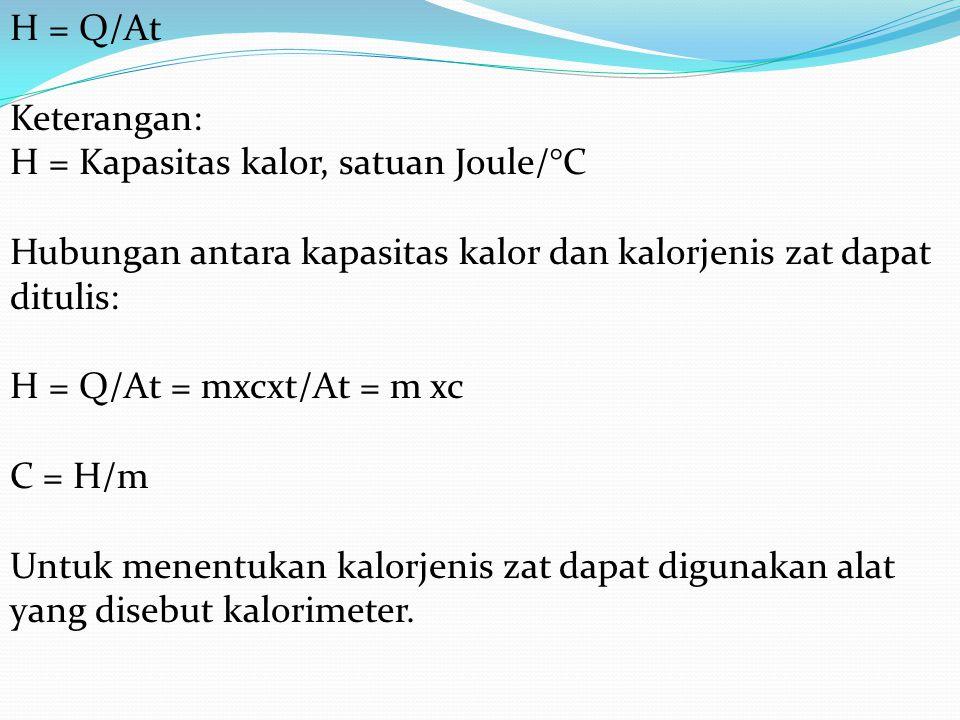 H = Q/At Keterangan: H = Kapasitas kalor, satuan Joule/°C Hubungan antara kapasitas kalor dan kalorjenis zat dapat ditulis: H = Q/At = mxcxt/At = m xc