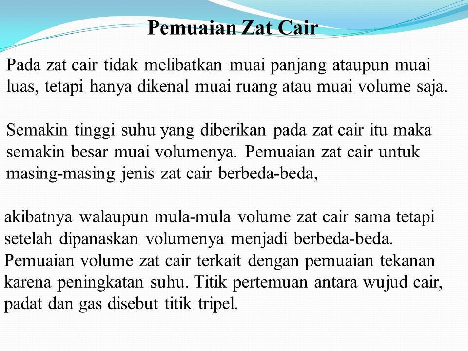 Pada zat cair tidak melibatkan muai panjang ataupun muai luas, tetapi hanya dikenal muai ruang atau muai volume saja. akibatnya walaupun mula-mula vol