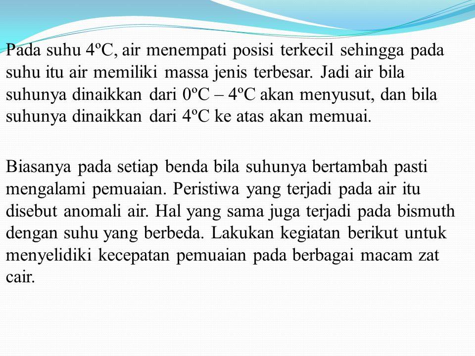 Pada suhu 4ºC, air menempati posisi terkecil sehingga pada suhu itu air memiliki massa jenis terbesar. Jadi air bila suhunya dinaikkan dari 0ºC – 4ºC