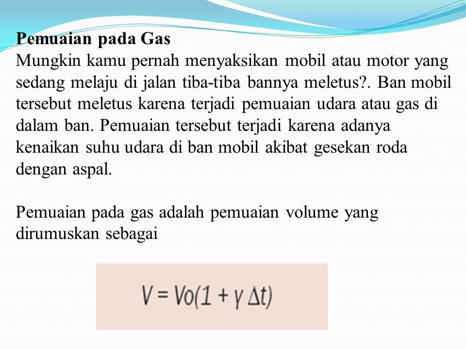 Pemuaian pada Gas Mungkin kamu pernah menyaksikan mobil atau motor yang sedang melaju di jalan tiba-tiba bannya meletus?. Ban mobil tersebut meletus k