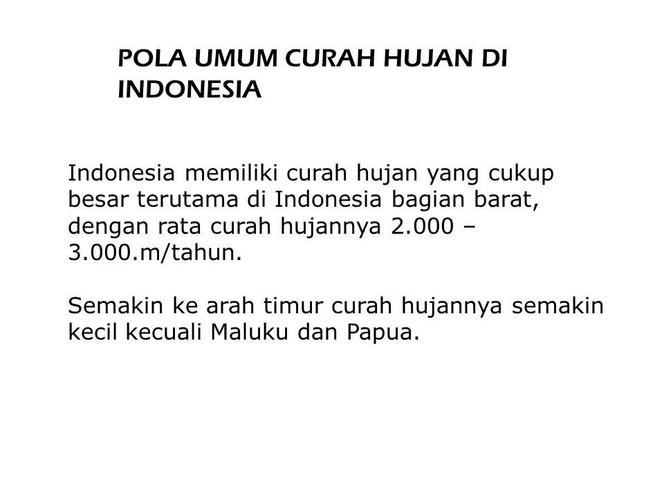 Indonesia memiliki curah hujan yang cukup besar terutama di Indonesia bagian barat, dengan rata curah hujannya 2.000 – 3.000.m/tahun.