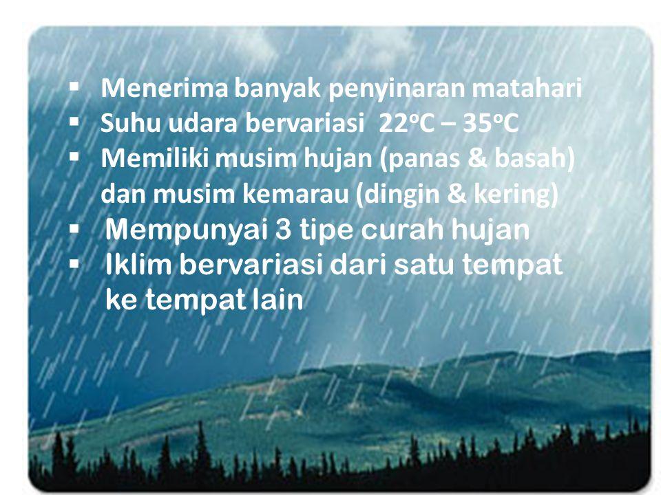  Menerima banyak penyinaran matahari  Suhu udara bervariasi 22 o C – 35 o C  Memiliki musim hujan (panas & basah) dan musim kemarau (dingin & kering)  Mempunyai 3 tipe curah hujan  Iklim bervariasi dari satu tempat ke tempat lain