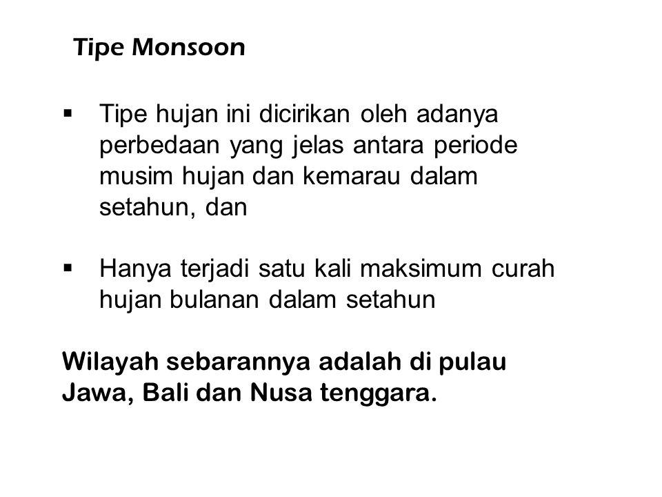 Tipe Monsoon  Tipe hujan ini dicirikan oleh adanya perbedaan yang jelas antara periode musim hujan dan kemarau dalam setahun, dan  Hanya terjadi satu kali maksimum curah hujan bulanan dalam setahun Wilayah sebarannya adalah di pulau Jawa, Bali dan Nusa tenggara.