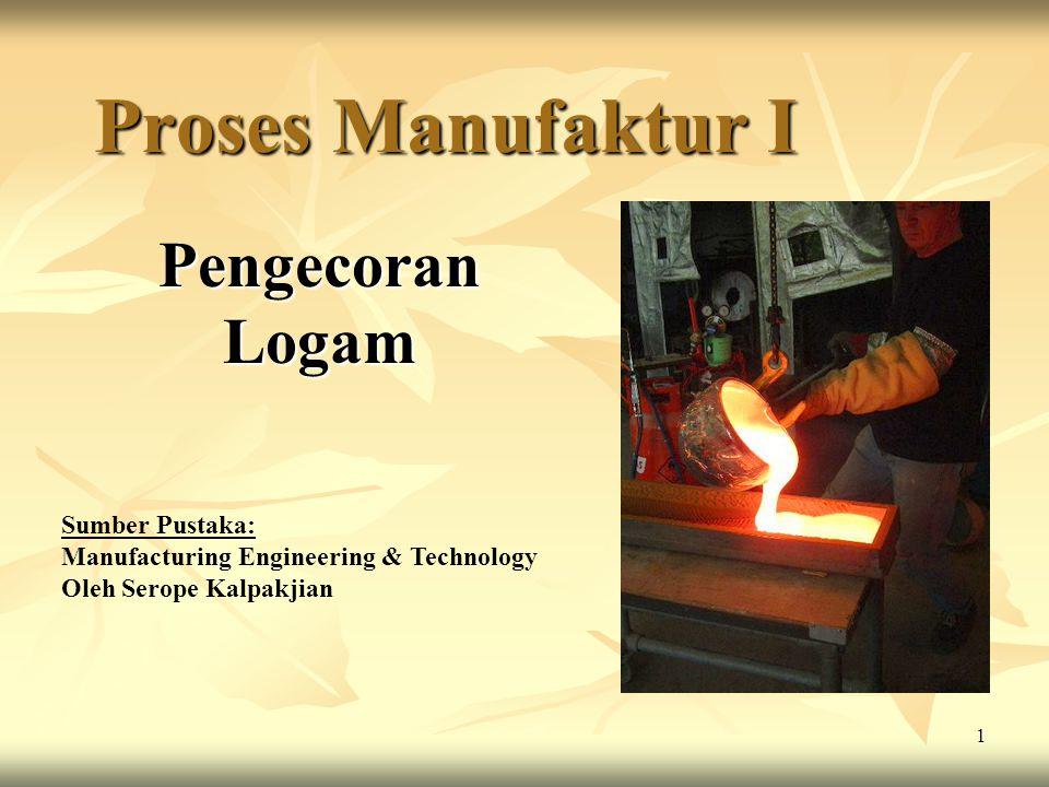 2 Pengecoran Logam Proses Pengecoran (casting) adalah salah satu teknik pembuatan produk dimana logam dicairkan dalam tungku peleburan kemudian dituangkan ke dalam rongga cetakan yang serupa dengan bentuk asli dari produk cor yang akan dibuat.