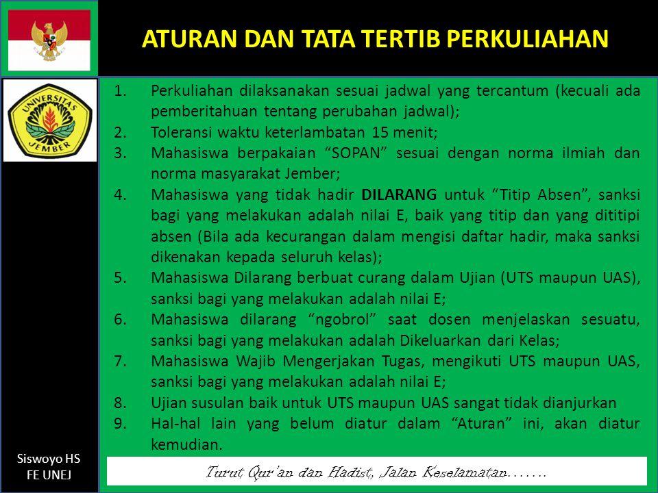 Turut Qur'an dan Hadist, Jalan Keselamatan……. Siswoyo HS FE UNEJ ATURAN DAN TATA TERTIB PERKULIAHAN 1.Perkuliahan dilaksanakan sesuai jadwal yang terc