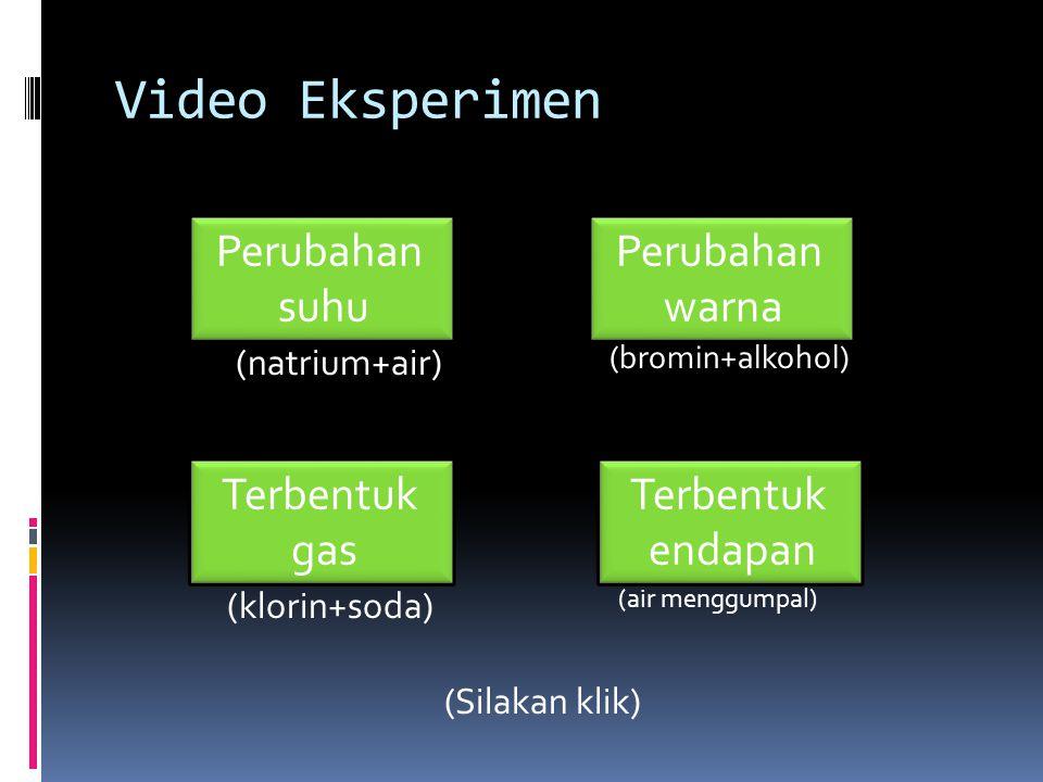Video Eksperimen (Silakan klik) Perubahan suhu Perubahan suhu Perubahan warna Perubahan warna Terbentuk gas Terbentuk gas Terbentuk endapan Terbentuk