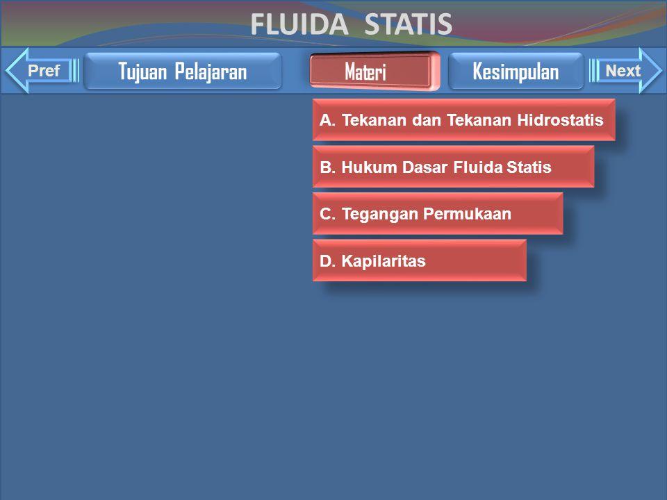 FLUIDA STATIS Pref Tujuan Pelajaran Kesimpulan Next A. Tekanan dan Tekanan Hidrostatis A. Tekanan dan Tekanan Hidrostatis B. Hukum Dasar Fluida Statis