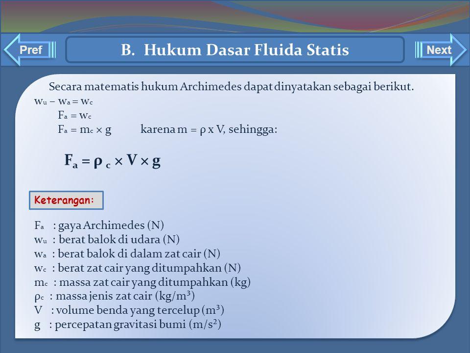 ` ` Secara matematis hukum Archimedes dapat dinyatakan sebagai berikut. w u – w a = w c F a = w c F a = m c × g karena m = ρ x V, sehingga: F a = ρ c