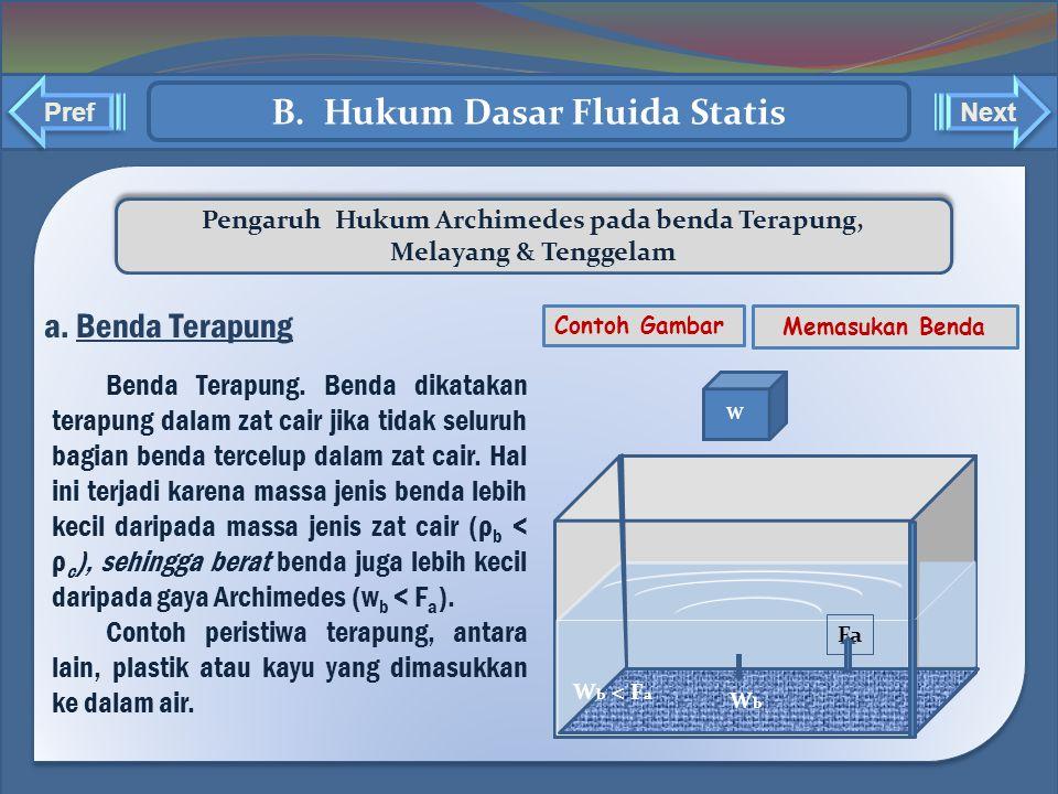 ` ` Pengaruh Hukum Archimedes pada benda Terapung, Melayang & Tenggelam Pengaruh Hukum Archimedes pada benda Terapung, Melayang & Tenggelam a. Benda T