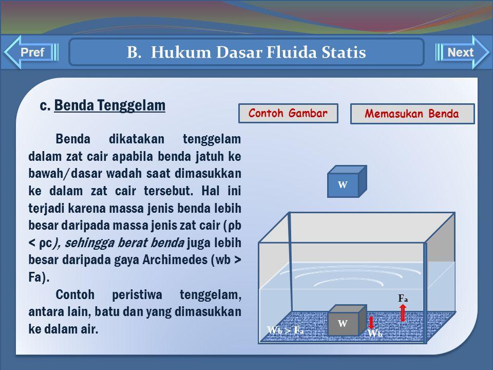 ` ` c. Benda Tenggelam Benda dikatakan tenggelam dalam zat cair apabila benda jatuh ke bawah/dasar wadah saat dimasukkan ke dalam zat cair tersebut. H