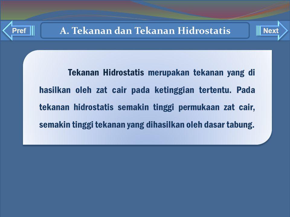 A. Tekanan dan Tekanan Hidrostatis Tekanan Hidrostatis merupakan tekanan yang di hasilkan oleh zat cair pada ketinggian tertentu. Pada tekanan hidrost