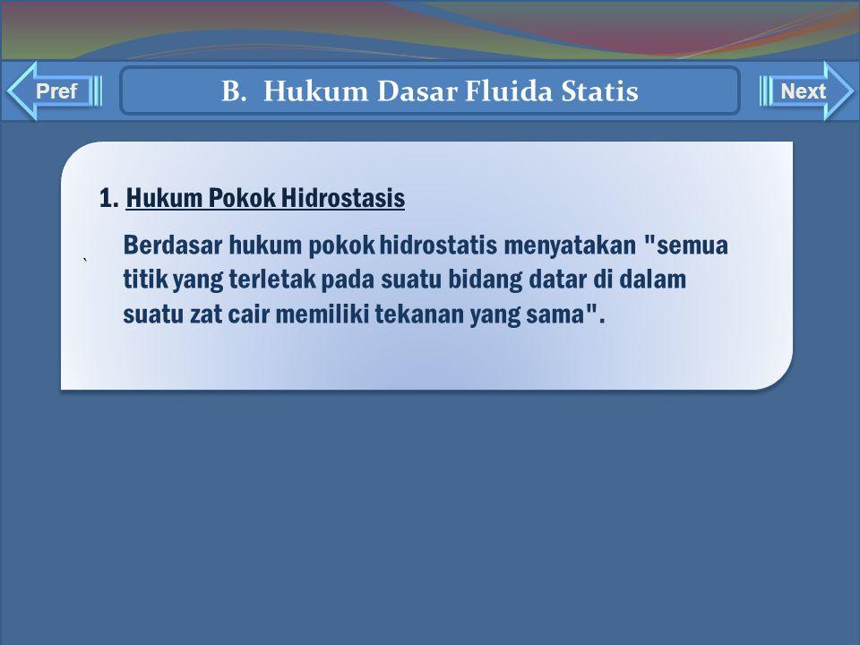 ` ` Pref Next B. Hukum Dasar Fluida Statis Berdasar hukum pokok hidrostatis menyatakan