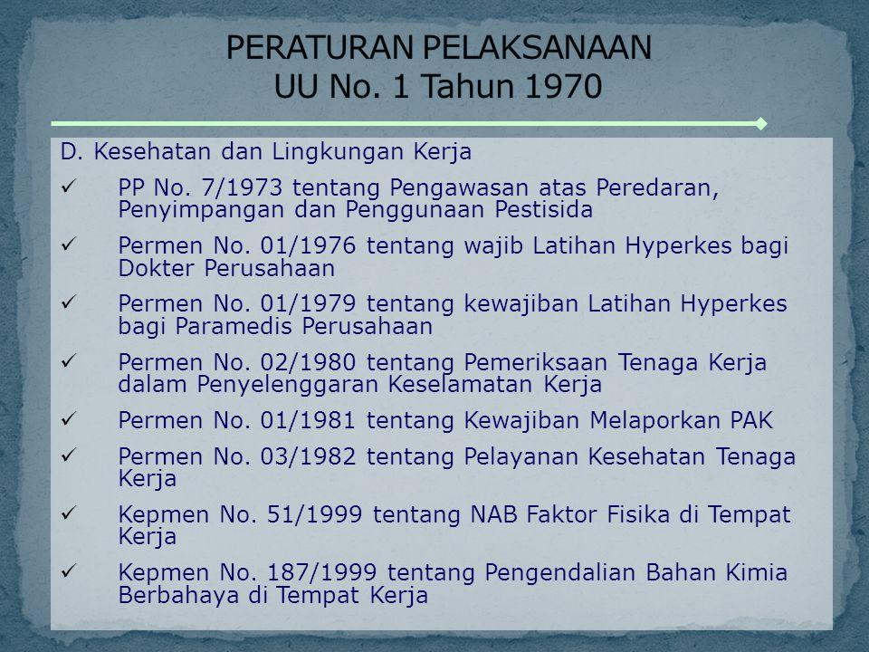D. Kesehatan dan Lingkungan Kerja PP No. 7/1973 tentang Pengawasan atas Peredaran, Penyimpangan dan Penggunaan Pestisida Permen No. 01/1976 tentang wa