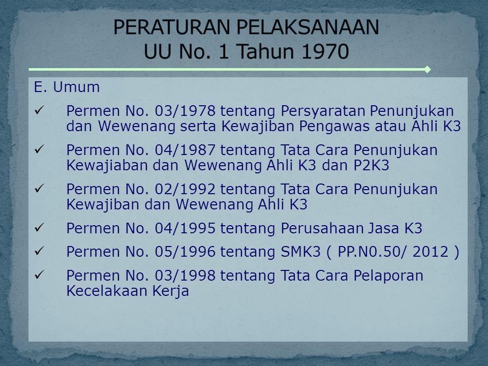 E. Umum Permen No. 03/1978 tentang Persyaratan Penunjukan dan Wewenang serta Kewajiban Pengawas atau Ahli K3 Permen No. 04/1987 tentang Tata Cara Penu