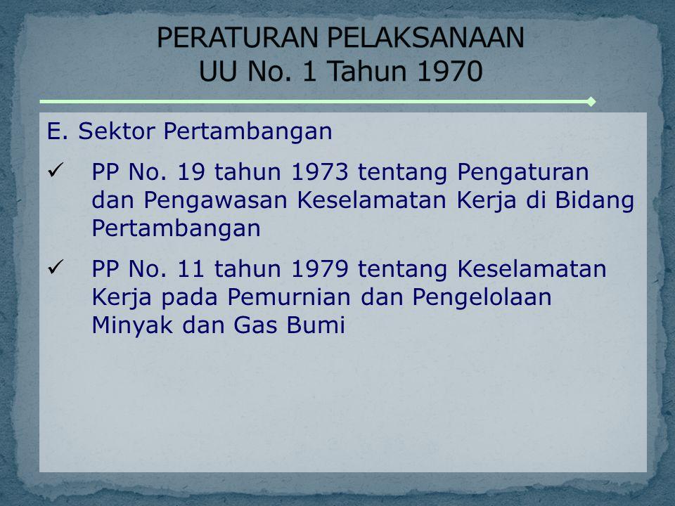 E. Sektor Pertambangan PP No. 19 tahun 1973 tentang Pengaturan dan Pengawasan Keselamatan Kerja di Bidang Pertambangan PP No. 11 tahun 1979 tentang Ke