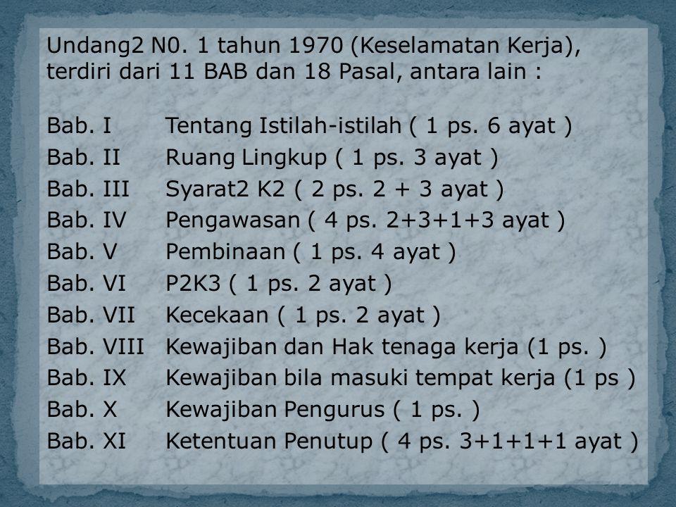 Undang2 N0. 1 tahun 1970 (Keselamatan Kerja), terdiri dari 11 BAB dan 18 Pasal, antara lain : Bab. I Tentang Istilah-istilah ( 1 ps. 6 ayat ) Bab. II
