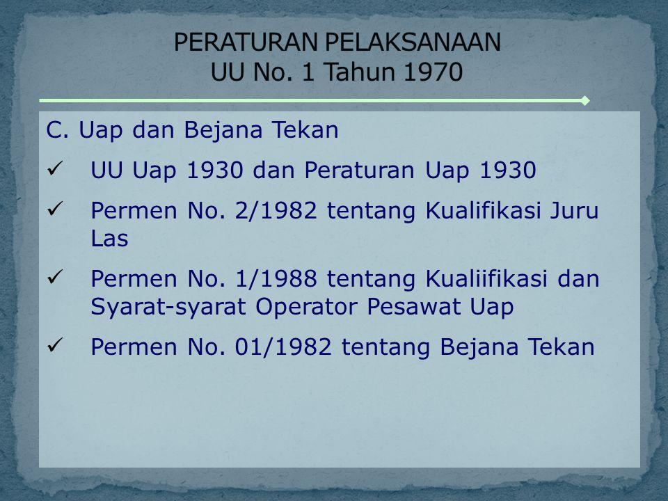 C. Uap dan Bejana Tekan UU Uap 1930 dan Peraturan Uap 1930 Permen No. 2/1982 tentang Kualifikasi Juru Las Permen No. 1/1988 tentang Kualiifikasi dan S