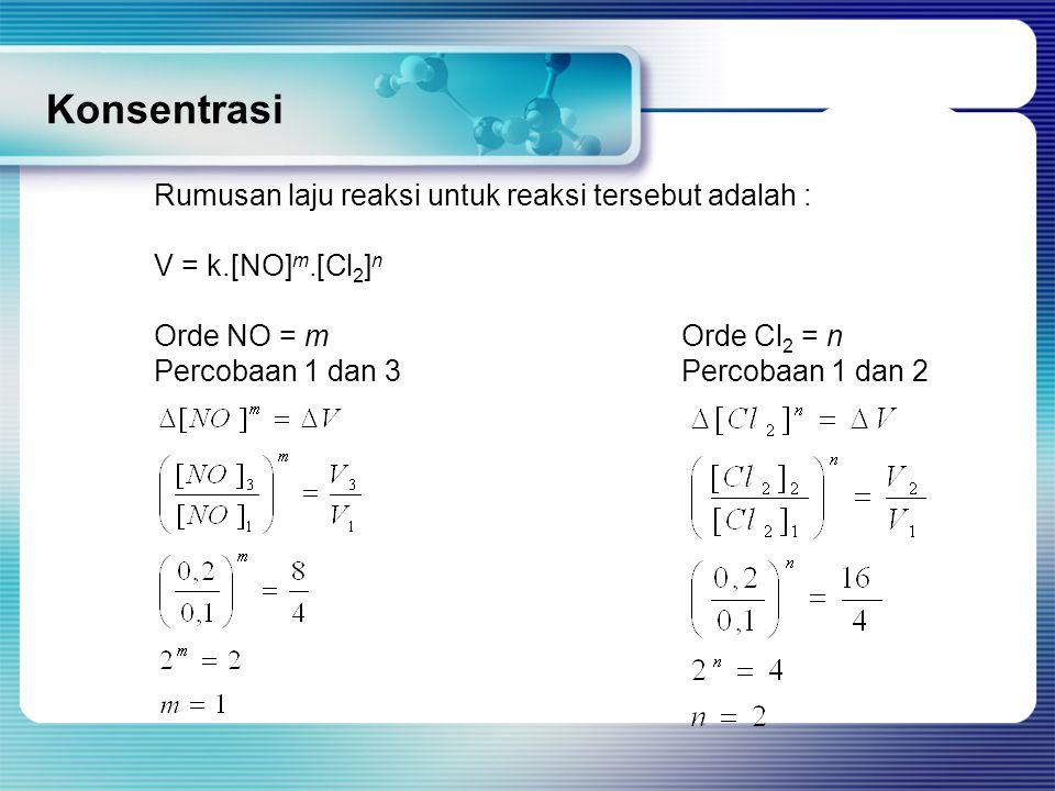 Konsentrasi Rumusan laju reaksi untuk reaksi tersebut adalah : V = k.[NO] m.[Cl 2 ] n Orde NO = mOrde Cl 2 = n Percobaan 1 dan 3Percobaan 1 dan 2