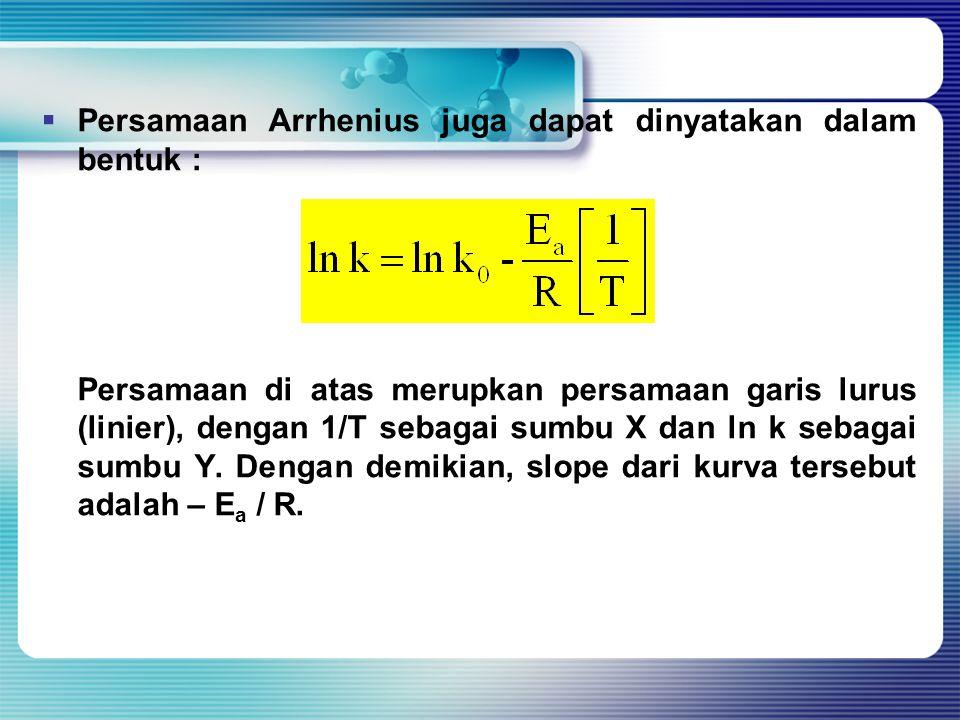  Persamaan Arrhenius juga dapat dinyatakan dalam bentuk : Persamaan di atas merupkan persamaan garis lurus (linier), dengan 1/T sebagai sumbu X dan l