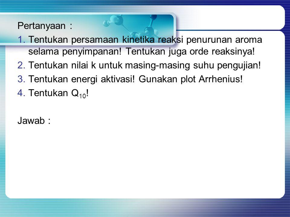 Pertanyaan : 1.Tentukan persamaan kinetika reaksi penurunan aroma selama penyimpanan! Tentukan juga orde reaksinya! 2.Tentukan nilai k untuk masing-ma