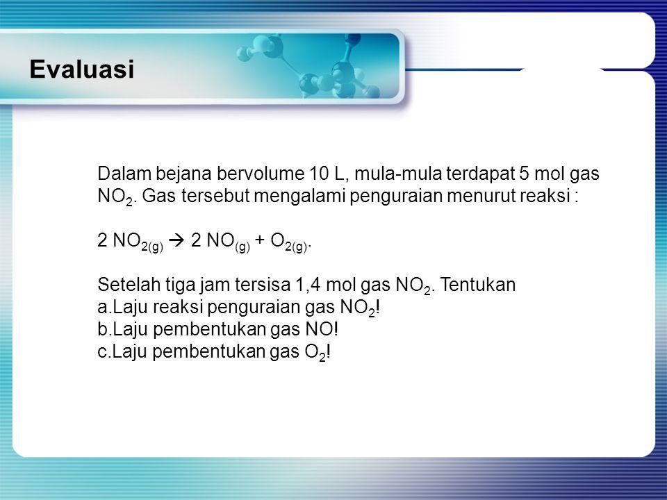 Evaluasi Dalam bejana bervolume 10 L, mula-mula terdapat 5 mol gas NO 2. Gas tersebut mengalami penguraian menurut reaksi : 2 NO 2(g)  2 NO (g) + O 2