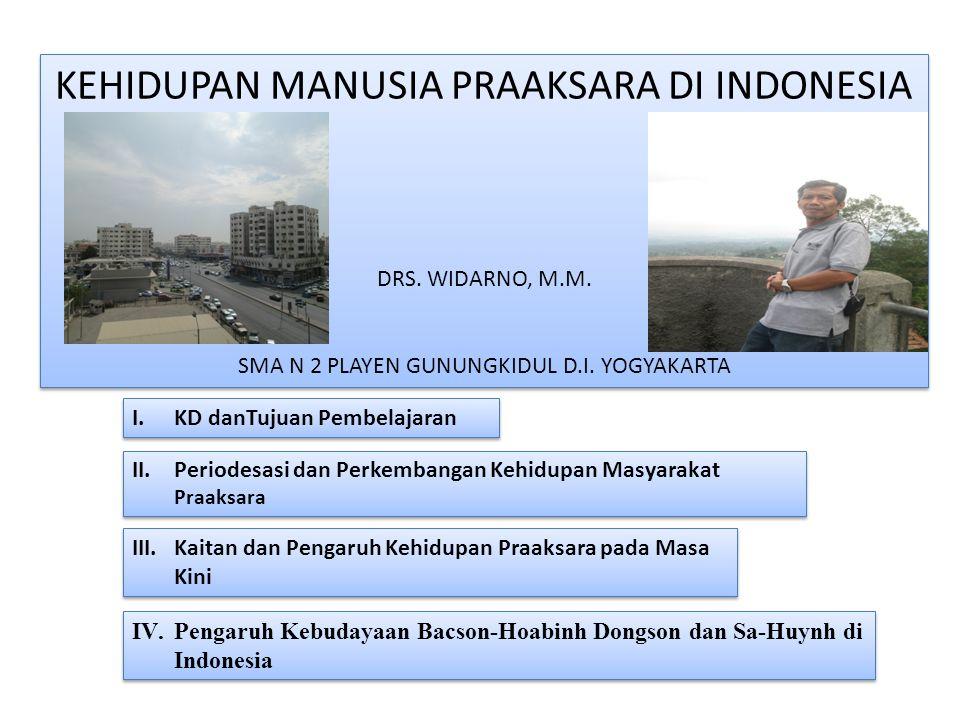 KEHIDUPAN MANUSIA PRAAKSARA DI INDONESIA DRS. WIDARNO, M.M. SMA N 2 PLAYEN GUNUNGKIDUL D.I. YOGYAKARTA KEHIDUPAN MANUSIA PRAAKSARA DI INDONESIA DRS. W