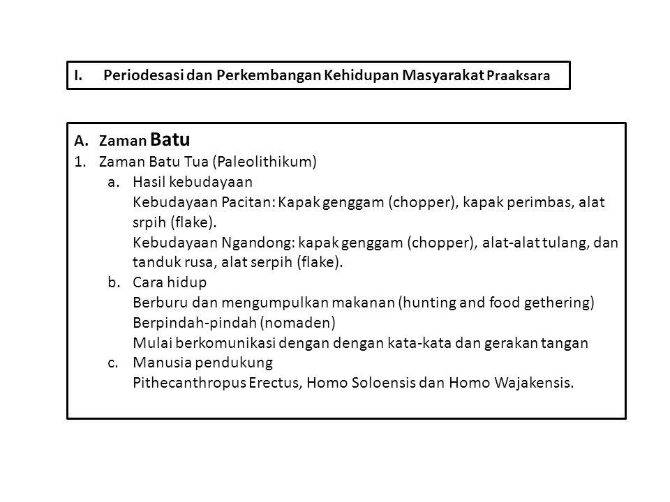 I.Periodesasi dan Perkembangan Kehidupan Masyarakat Praaksara A.Zaman Batu 1.Zaman Batu Tua (Paleolithikum) a.Hasil kebudayaan Kebudayaan Pacitan: Kap