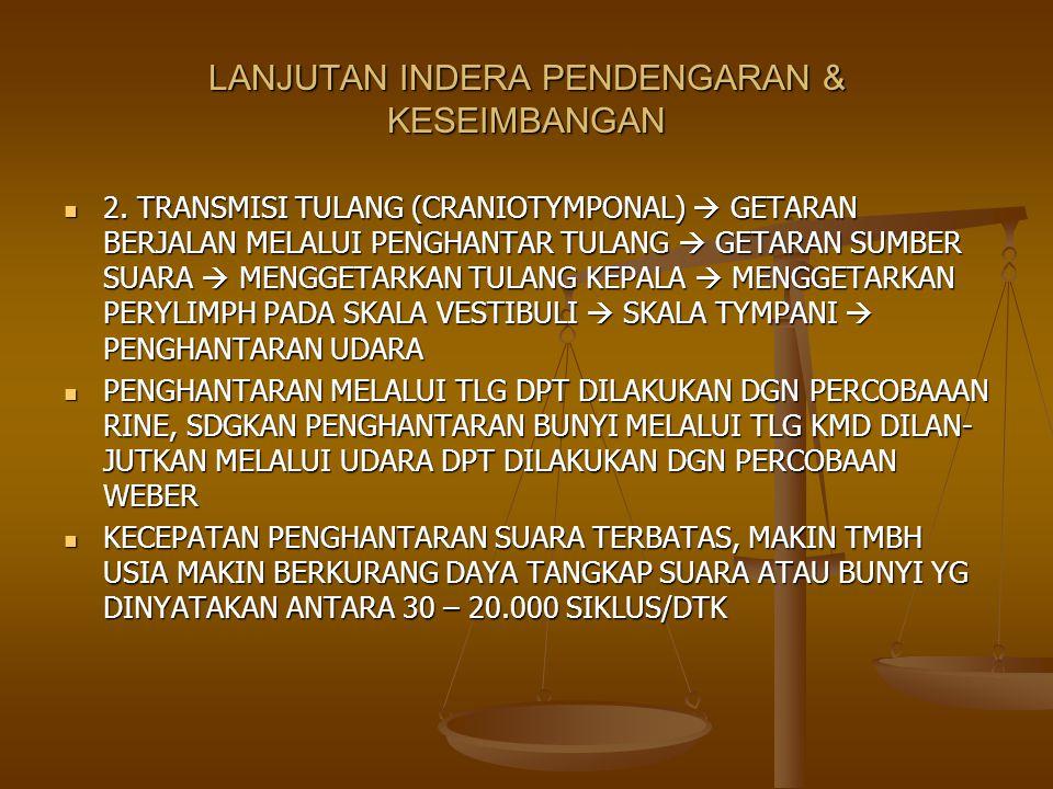 LANJUTAN INDERA PENDENGARAN & KESEIMBANGAN 2. TRANSMISI TULANG (CRANIOTYMPONAL)  GETARAN BERJALAN MELALUI PENGHANTAR TULANG  GETARAN SUMBER SUARA 