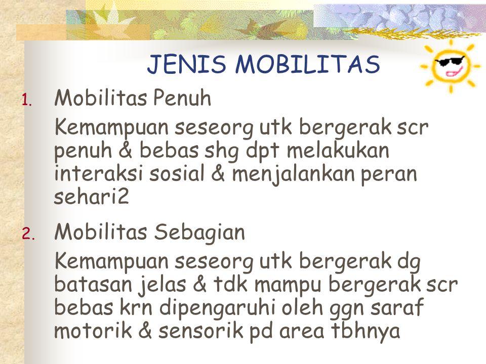 … Jenis Mobilitas Contoh pd kasus cedera/patah tulang dg pemasangan traksi Jenis mobilitas sebagian : a.