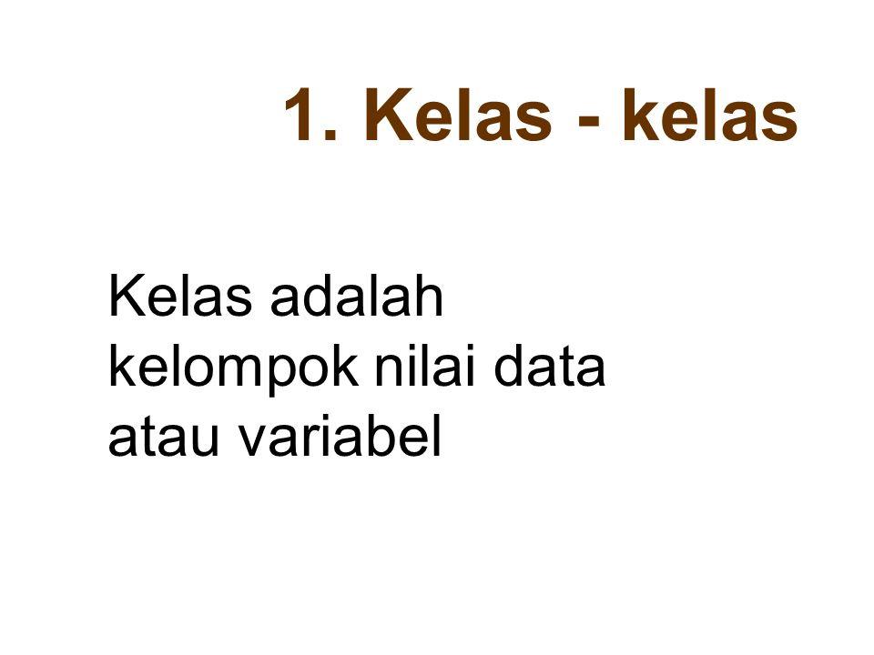 1. Kelas - kelas Kelas adalah kelompok nilai data atau variabel