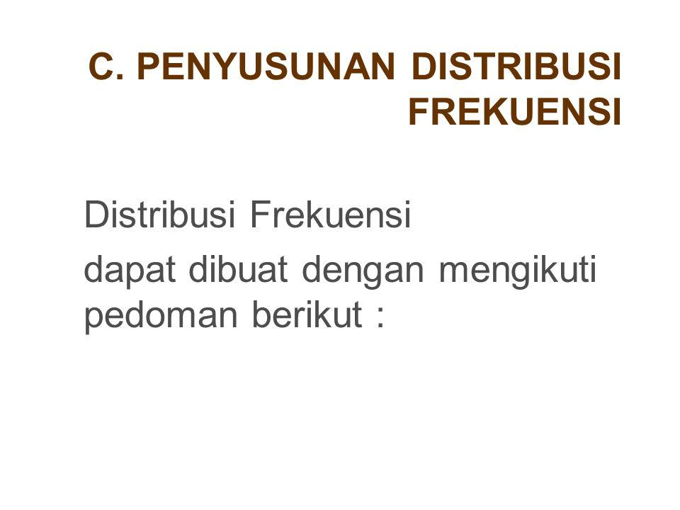 C. PENYUSUNAN DISTRIBUSI FREKUENSI Distribusi Frekuensi dapat dibuat dengan mengikuti pedoman berikut :