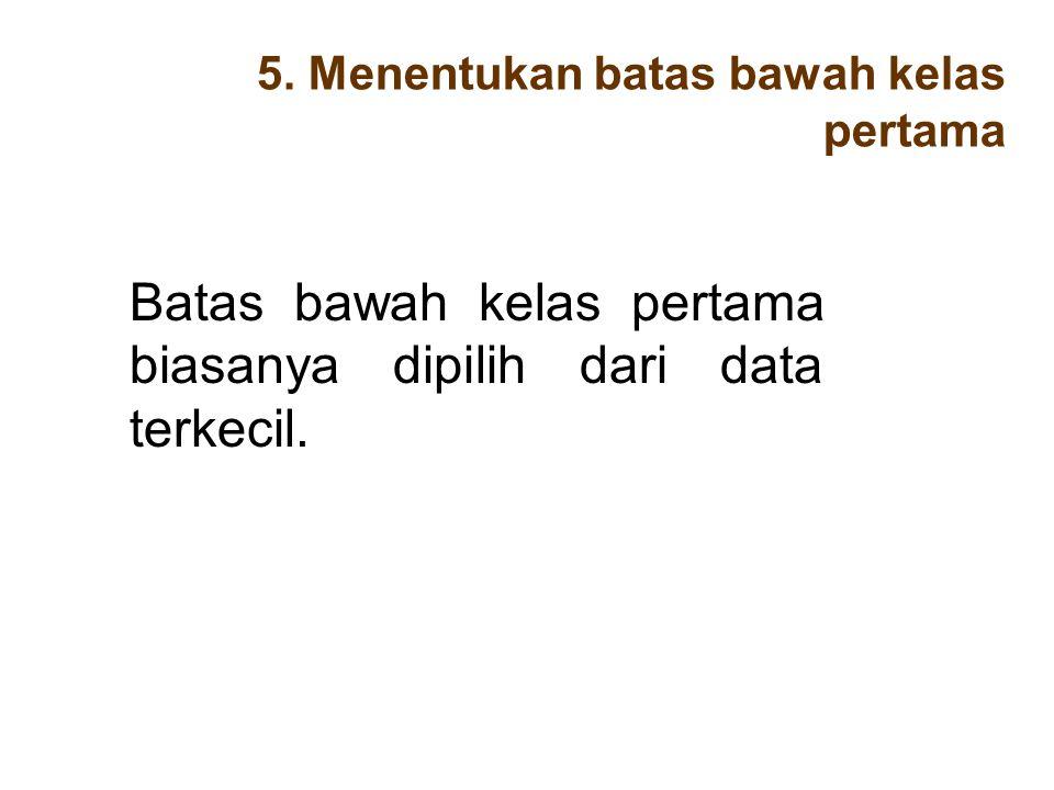 5. Menentukan batas bawah kelas pertama Batas bawah kelas pertama biasanya dipilih dari data terkecil.