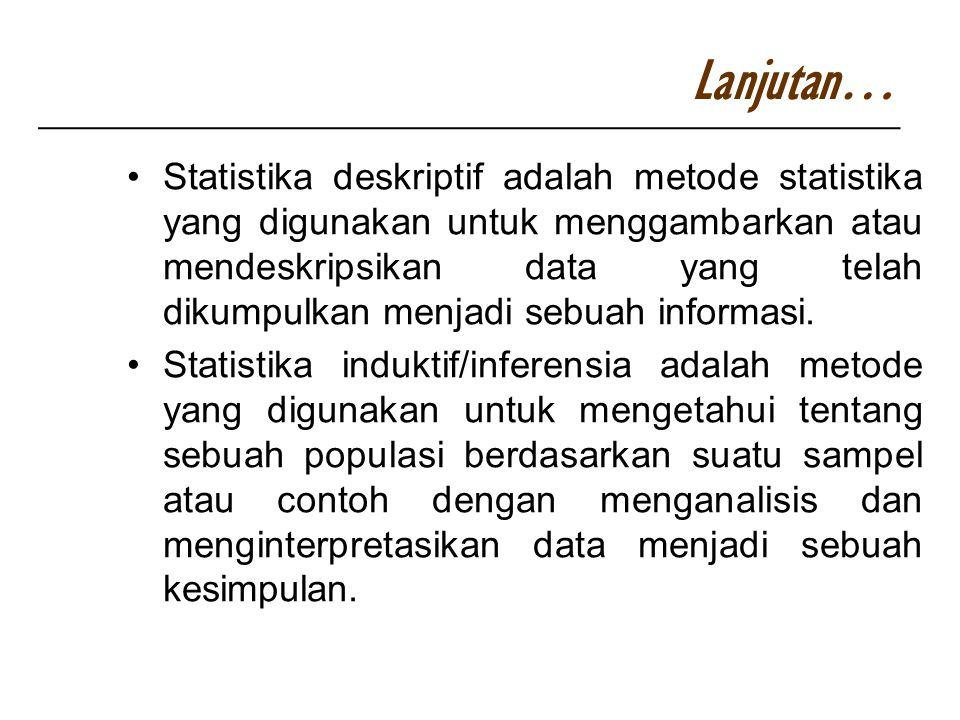 Statistika deskriptif adalah metode statistika yang digunakan untuk menggambarkan atau mendeskripsikan data yang telah dikumpulkan menjadi sebuah info