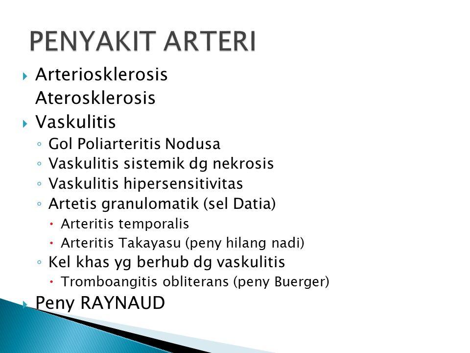  Arteriosklerosis Aterosklerosis  Vaskulitis ◦ Gol Poliarteritis Nodusa ◦ Vaskulitis sistemik dg nekrosis ◦ Vaskulitis hipersensitivitas ◦ Artetis granulomatik (sel Datia)  Arteritis temporalis  Arteritis Takayasu (peny hilang nadi) ◦ Kel khas yg berhub dg vaskulitis  Tromboangitis obliterans (peny Buerger)  Peny RAYNAUD