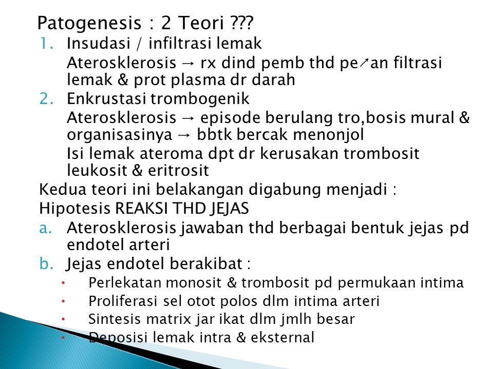 Patogenesis : 2 Teori ??? 1.Insudasi / infiltrasi lemak Aterosklerosis → rx dind pemb thd pe↗an filtrasi lemak & prot plasma dr darah 2.Enkrustasi tro