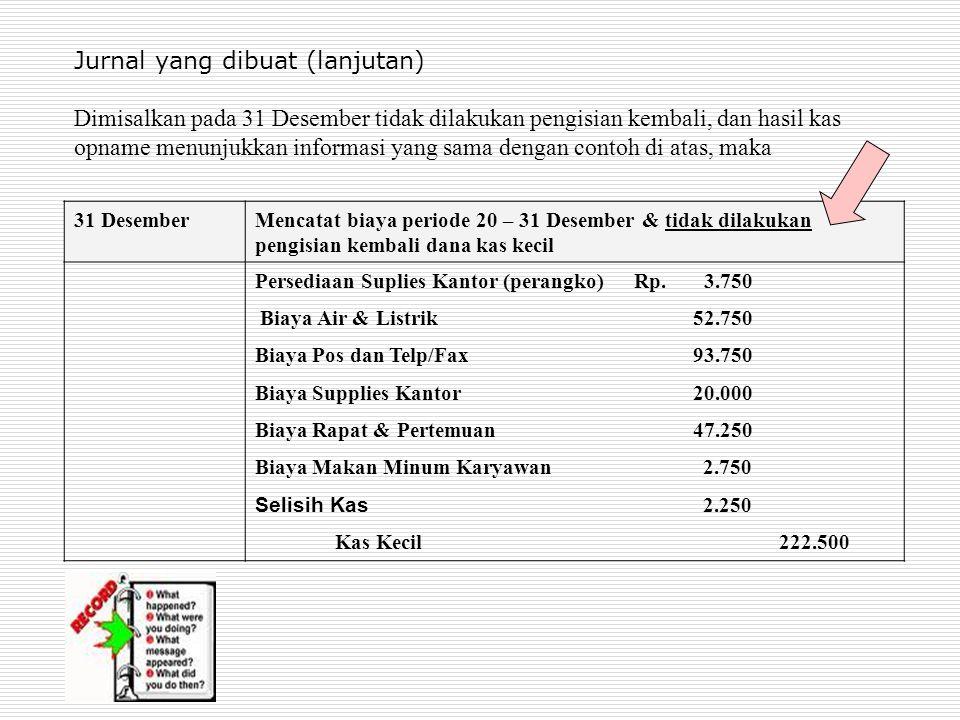 Jurnal yang dibuat (lanjutan) Dimisalkan pada 31 Desember tidak dilakukan pengisian kembali, dan hasil kas opname menunjukkan informasi yang sama deng