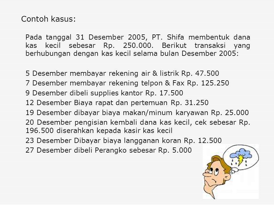 Contoh kasus: Pada tanggal 31 Desember 2005, PT. Shifa membentuk dana kas kecil sebesar Rp. 250.000. Berikut transaksi yang berhubungan dengan kas kec