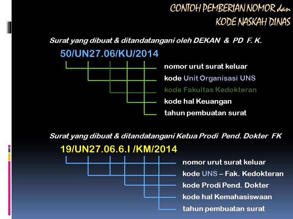 CONTOH PEMBERIAN NOMOR dan KODE NASKAH DINAS Surat yang dibuat & ditandatangani oleh DEKAN & PD F. K. 50/UN27.06/KU/2014 nomor urut surat keluar kode