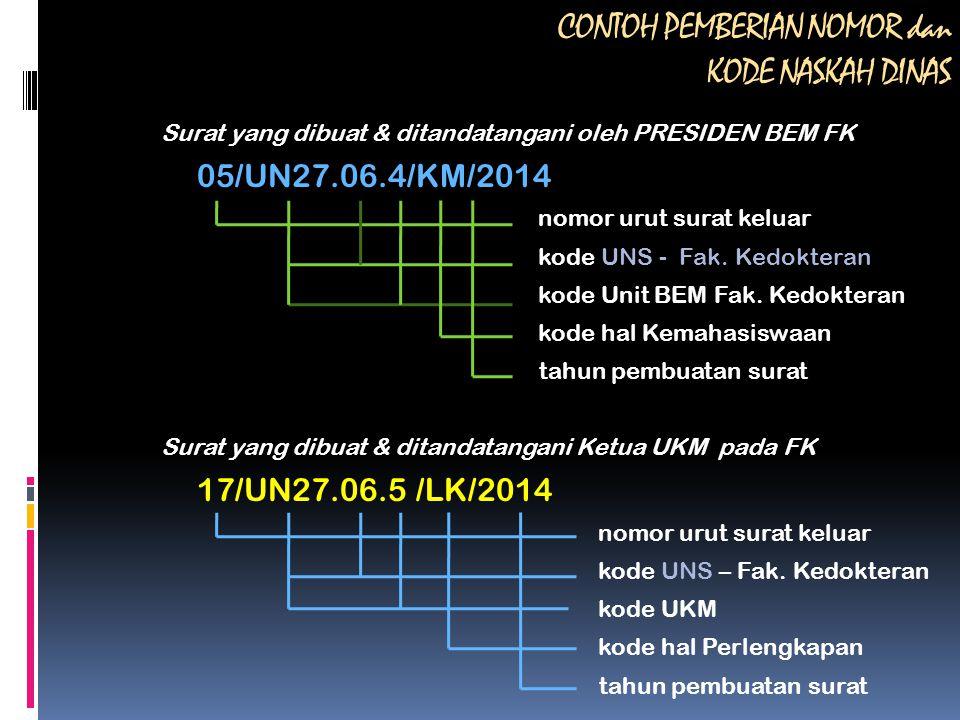 CONTOH PEMBERIAN NOMOR dan KODE NASKAH DINAS Surat yang dibuat & ditandatangani oleh PRESIDEN BEM FK 05/UN27.06.4/KM/2014 nomor urut surat keluar kode