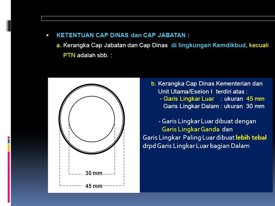  KETENTUAN CAP DINAS dan CAP JABATAN : a. Kerangka Cap Jabatan dan Cap Dinas di lingkungan Kemdikbud, kecuali PTN adalah sbb. : 30 mm 45 mm b. Kerang